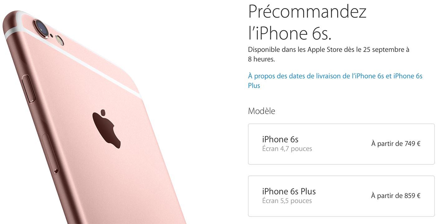 iPhone 6s Précommandes