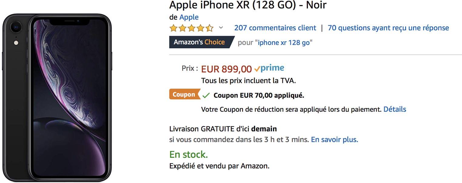 iPhone XR noir Amazon
