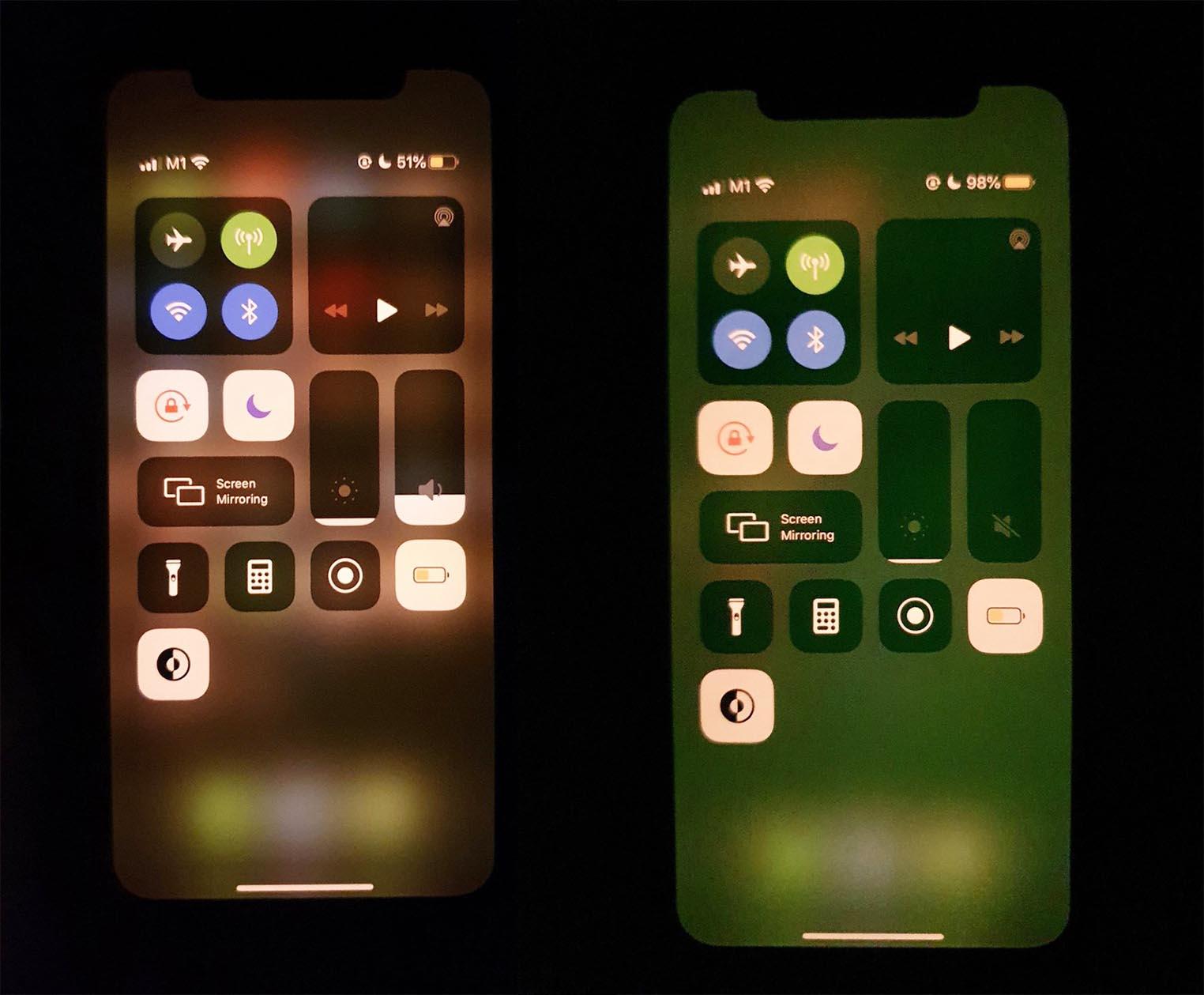 iPhone bug écran vert