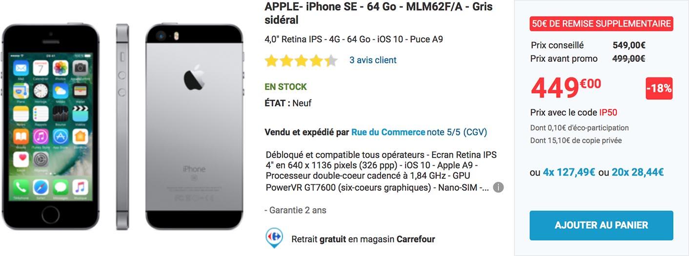 iPhone SE promo Rue du Commerce