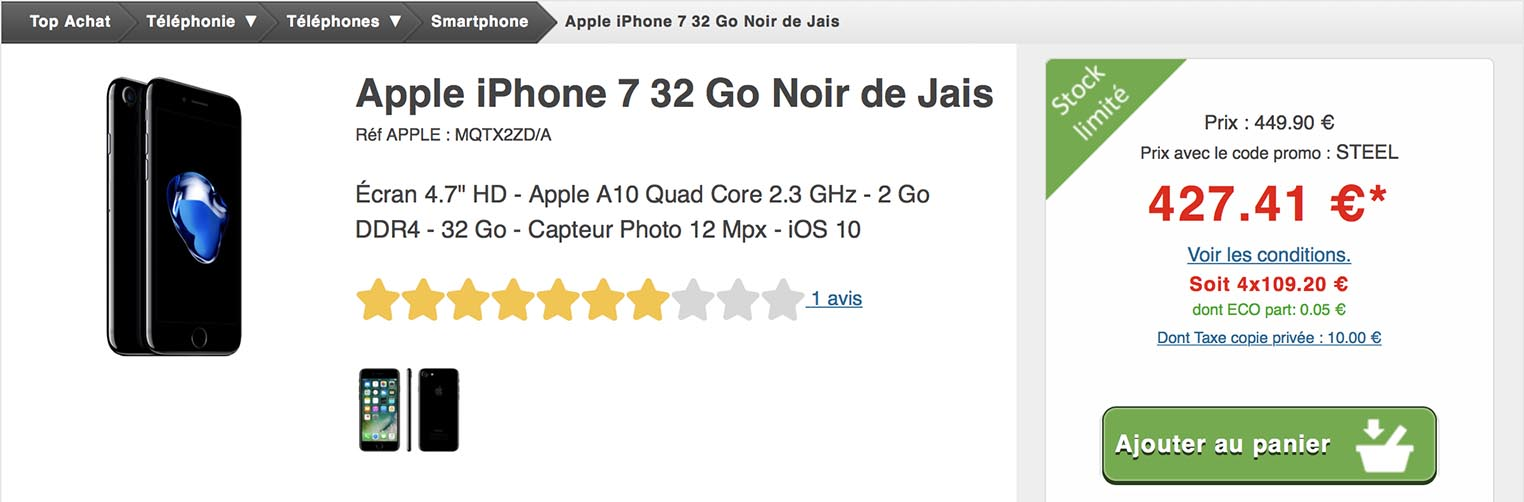 iPhone 7 PLus noir de jais Top Achat