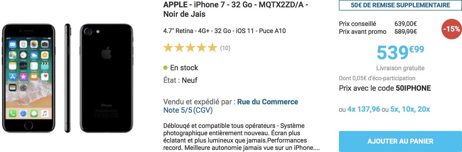 Promo iPhone 7 Rue du Commerce