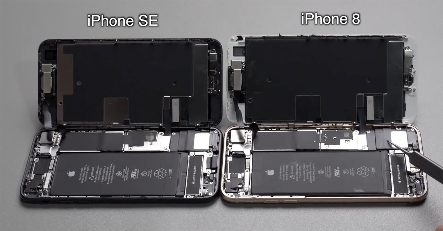 iPhone SE iPhone 8 comparaison composants
