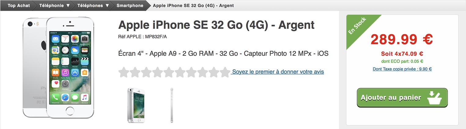 iPhone SE promo Top Achat