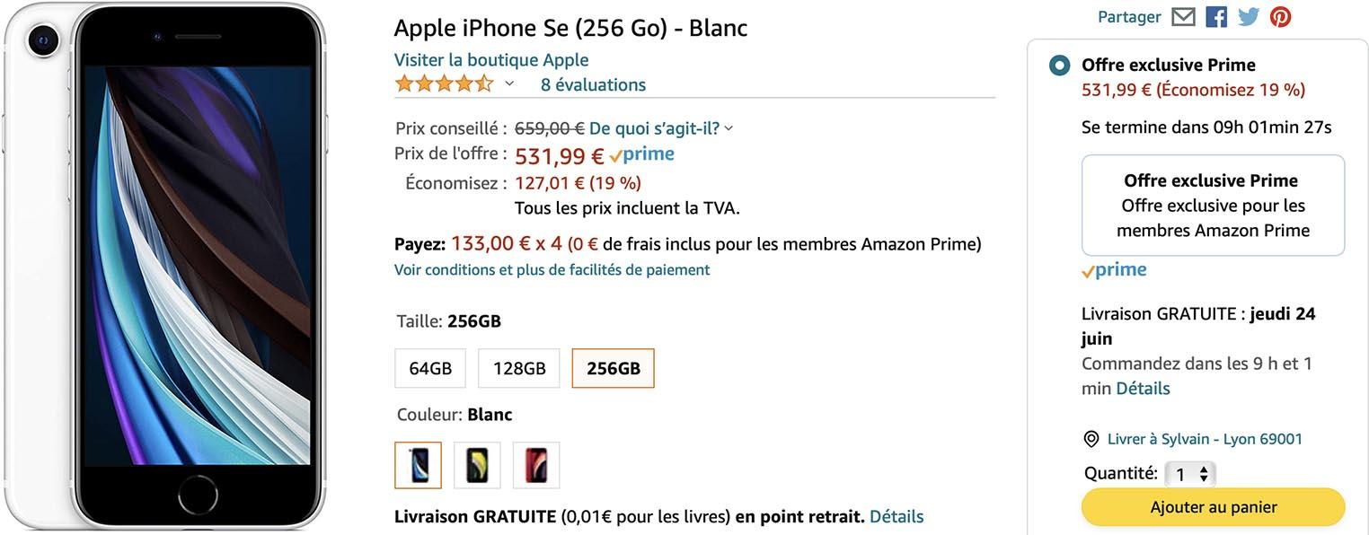 iPhone SE 256Go Amazon