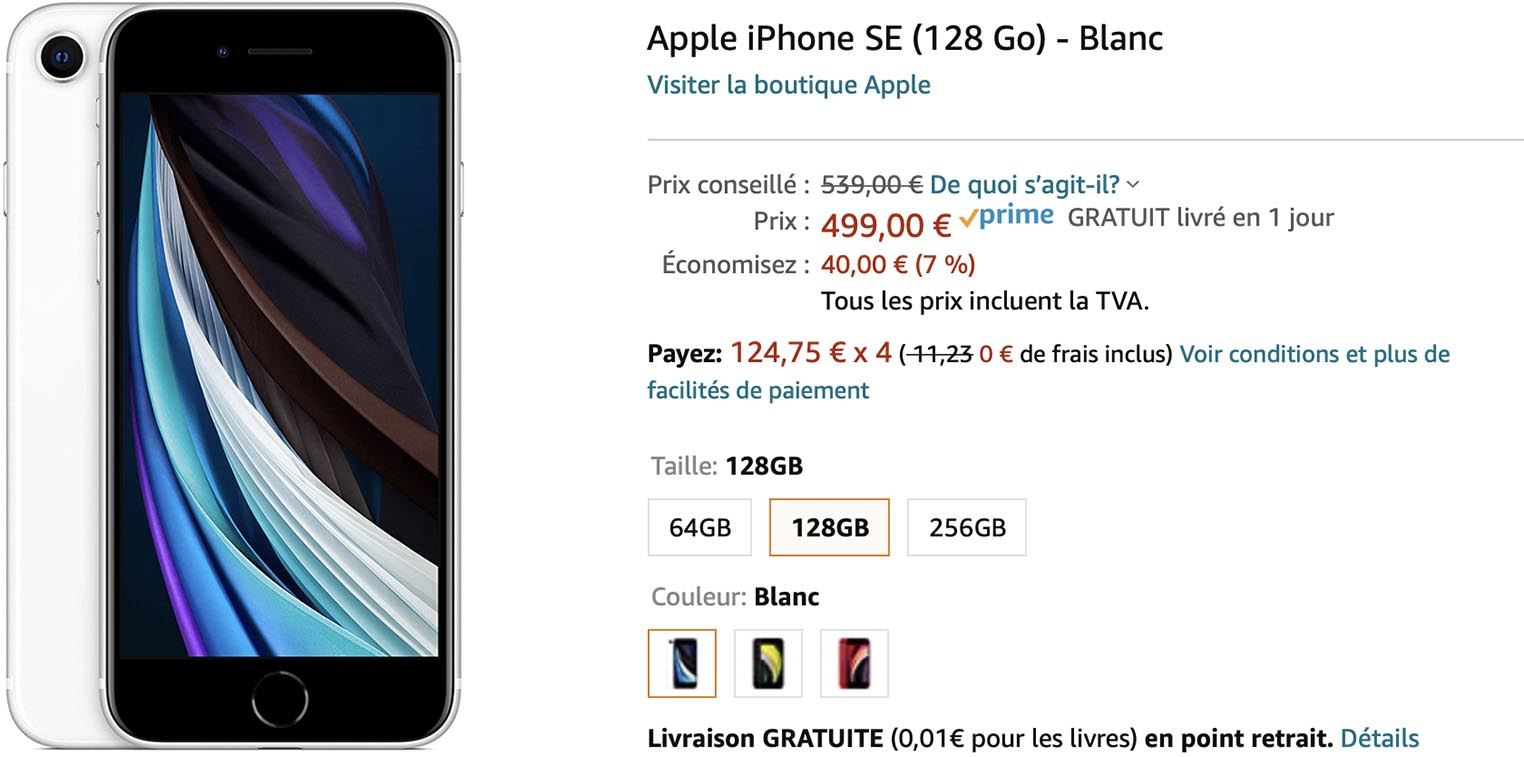 iPhone SE 128 Go blanc Amazon
