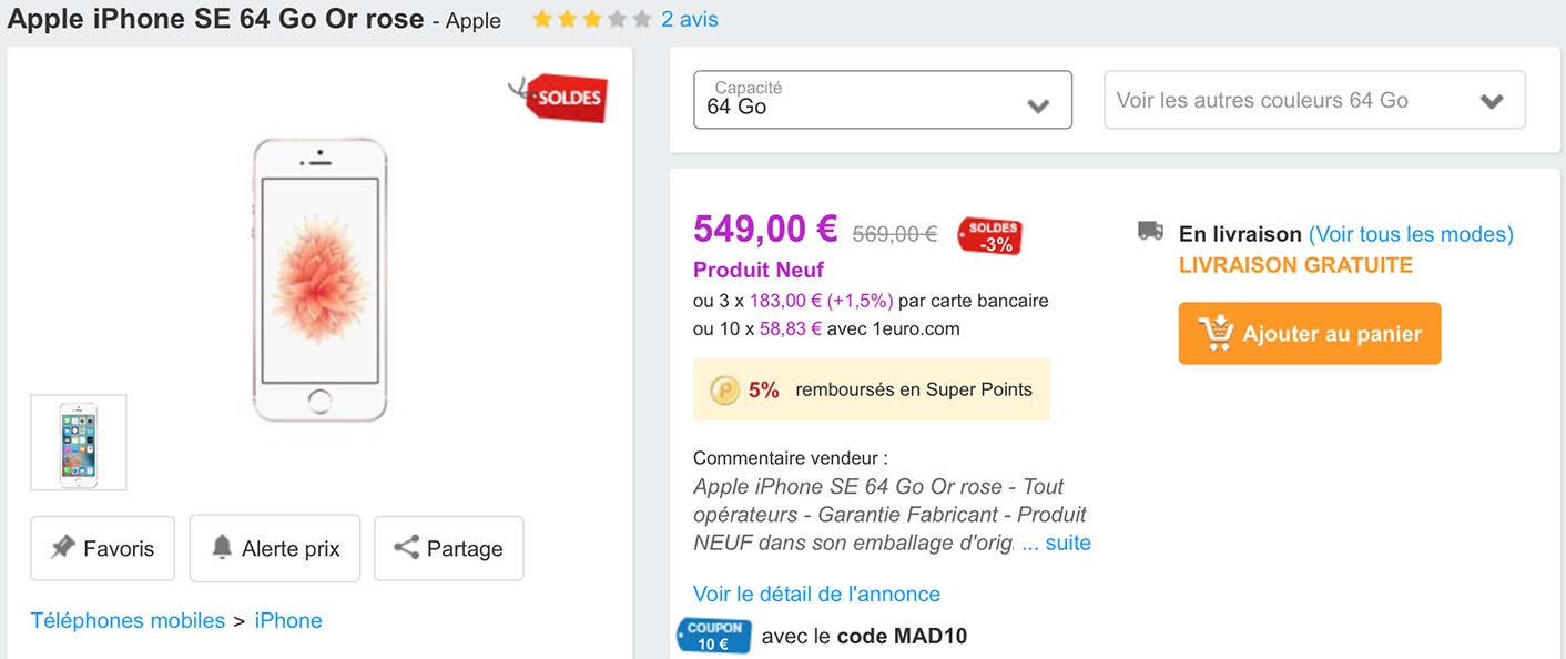 iPhone SE PriceMinister