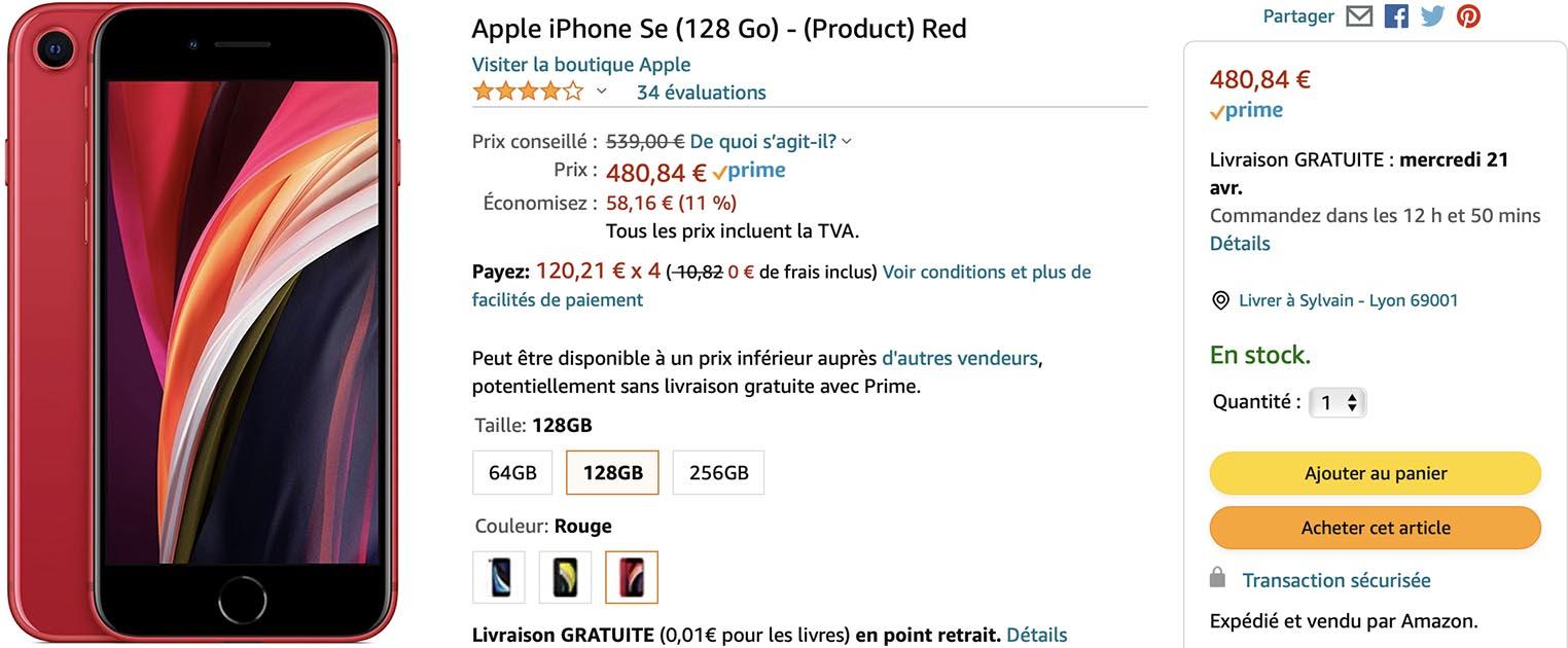 iPhone SE rouge 128 Go Amazon