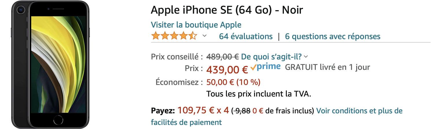 iPhone SE soldes Amazon