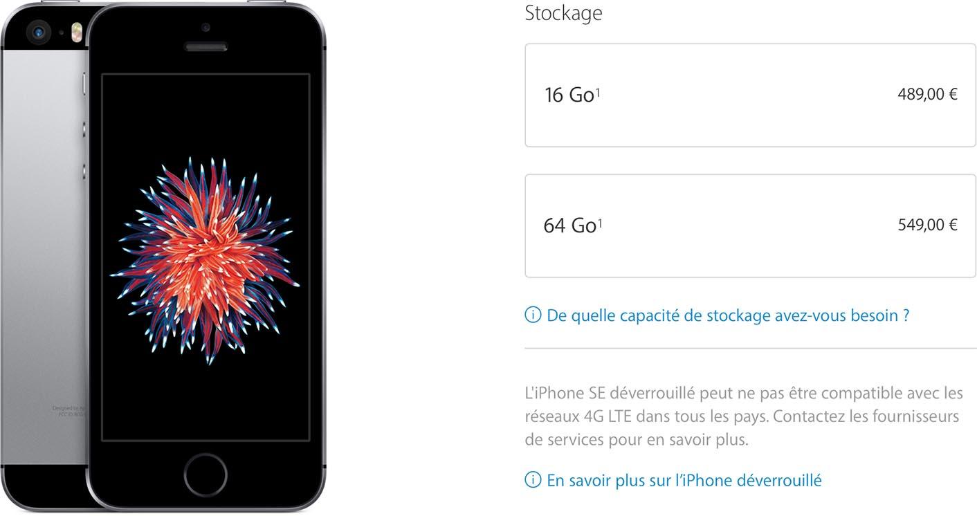 iPhone SE baisse prix