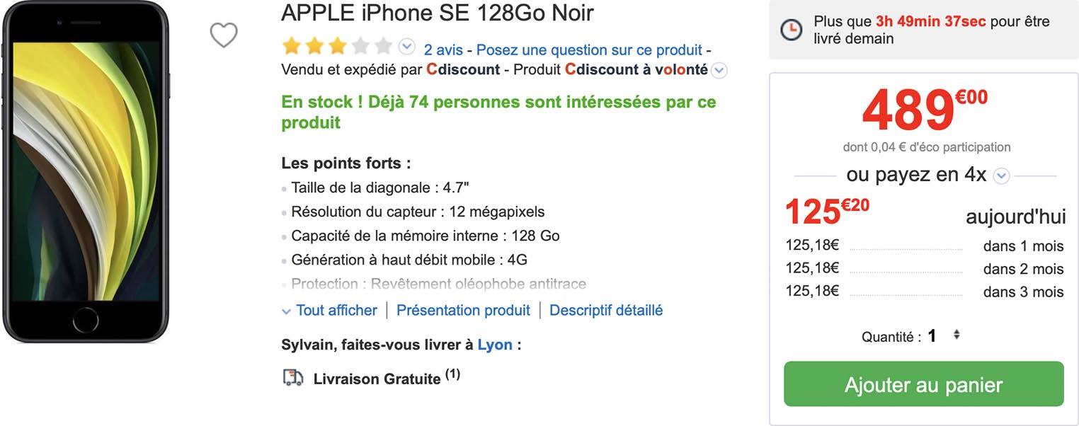 iPhone SE promo CDiscount