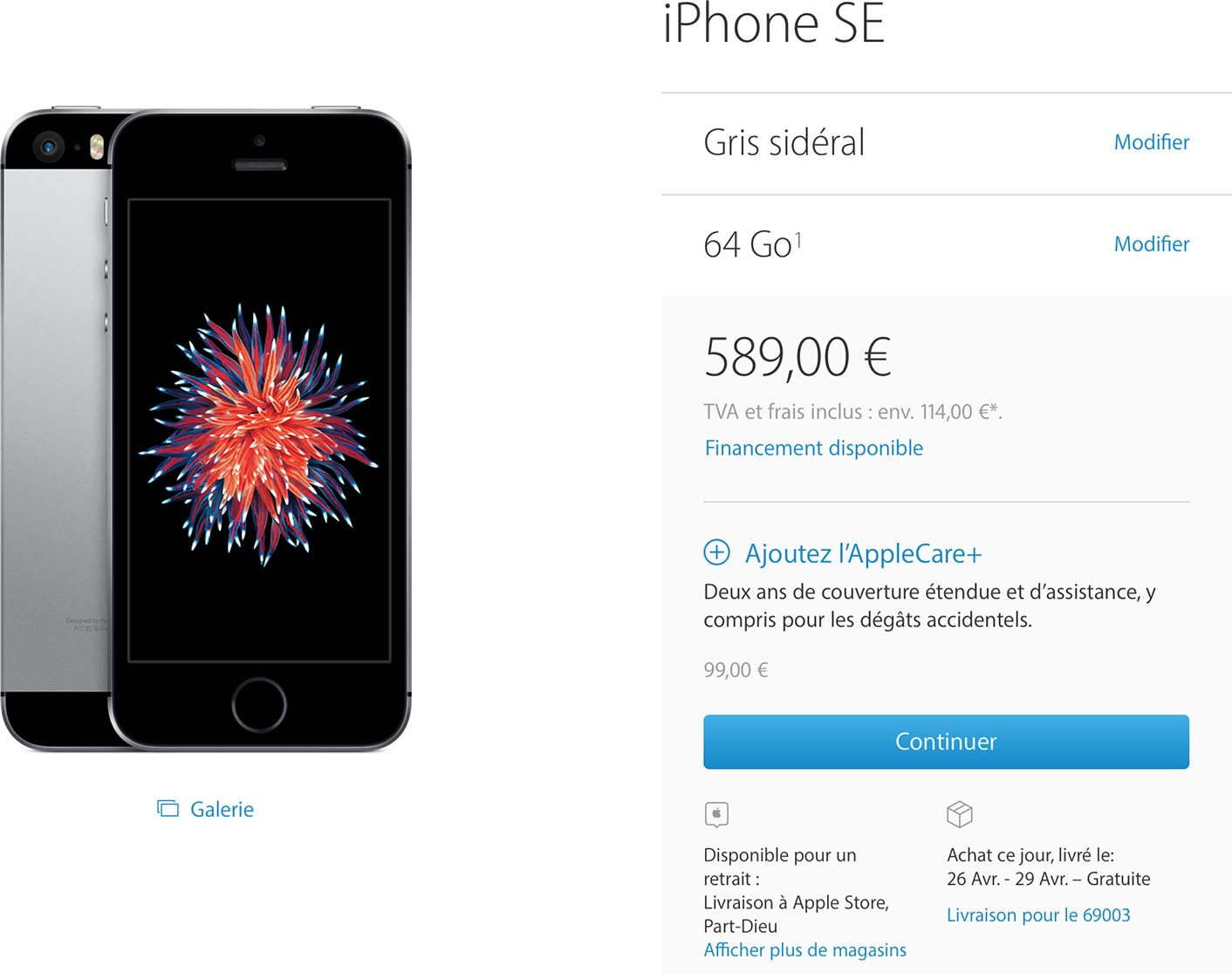 iPhone SE délais Apple Store