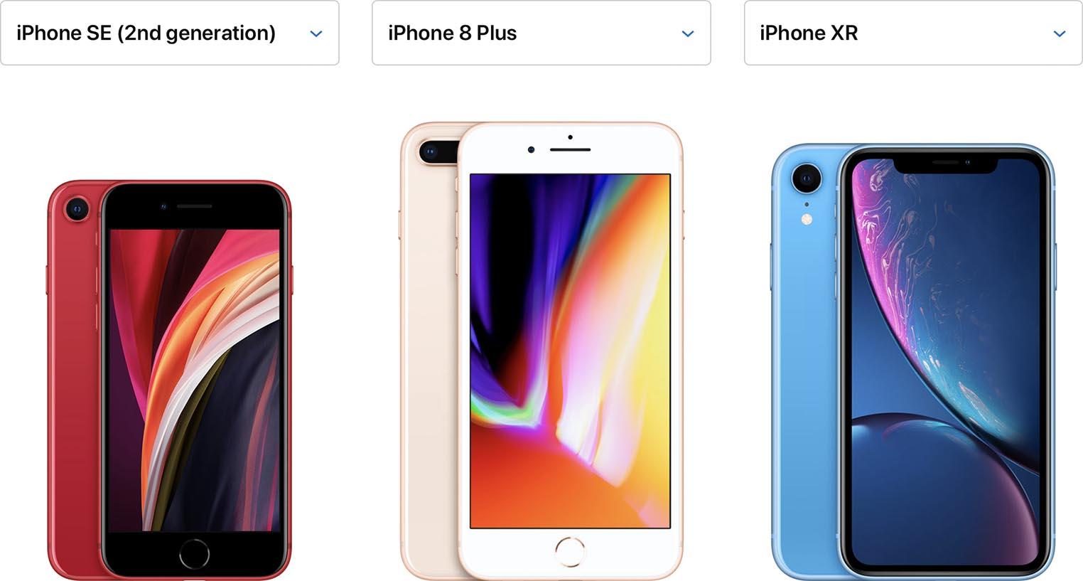 iPhone SE iPhone 8 Plus iPhone XR