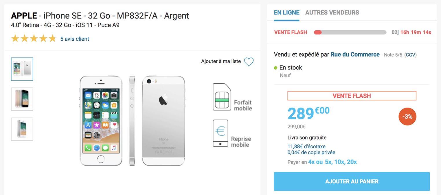 iPhone SE vente flash Rue du Commerce