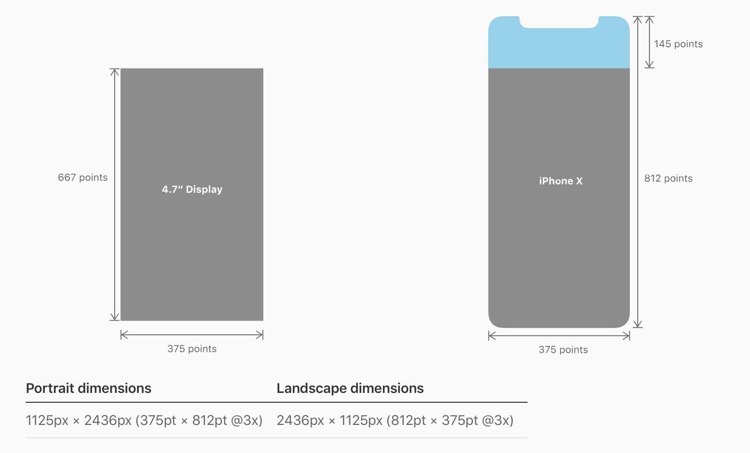 iPhone X dimensions écran
