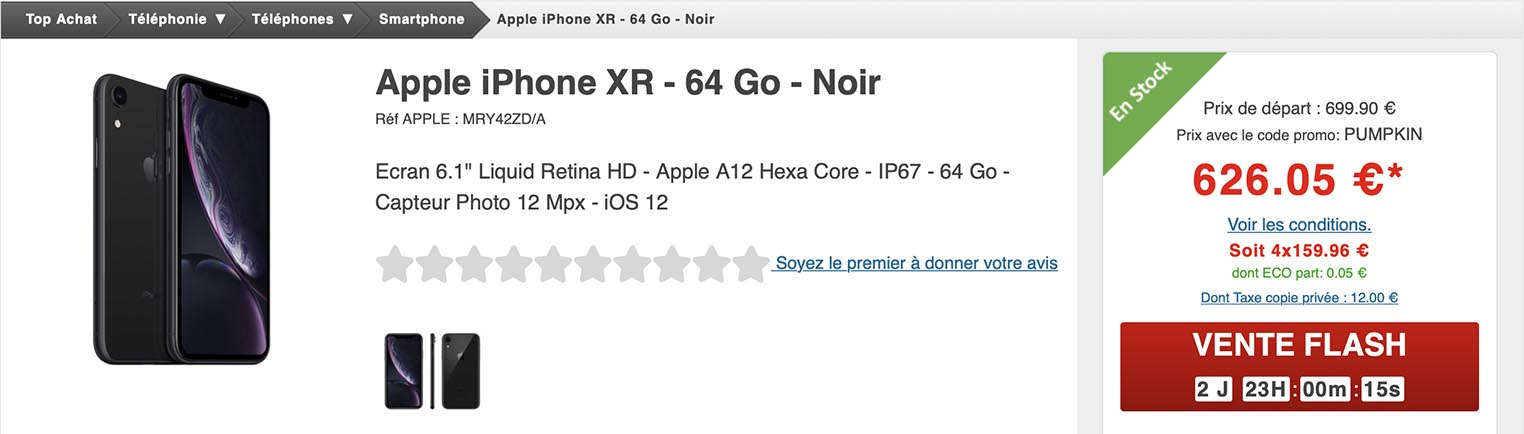 iPhone XR noir Top Achat
