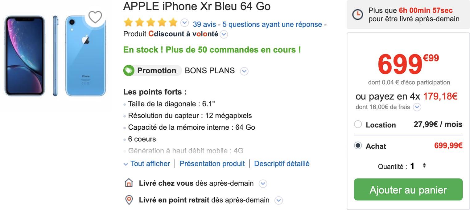 iPhone XR bleu CDiscount