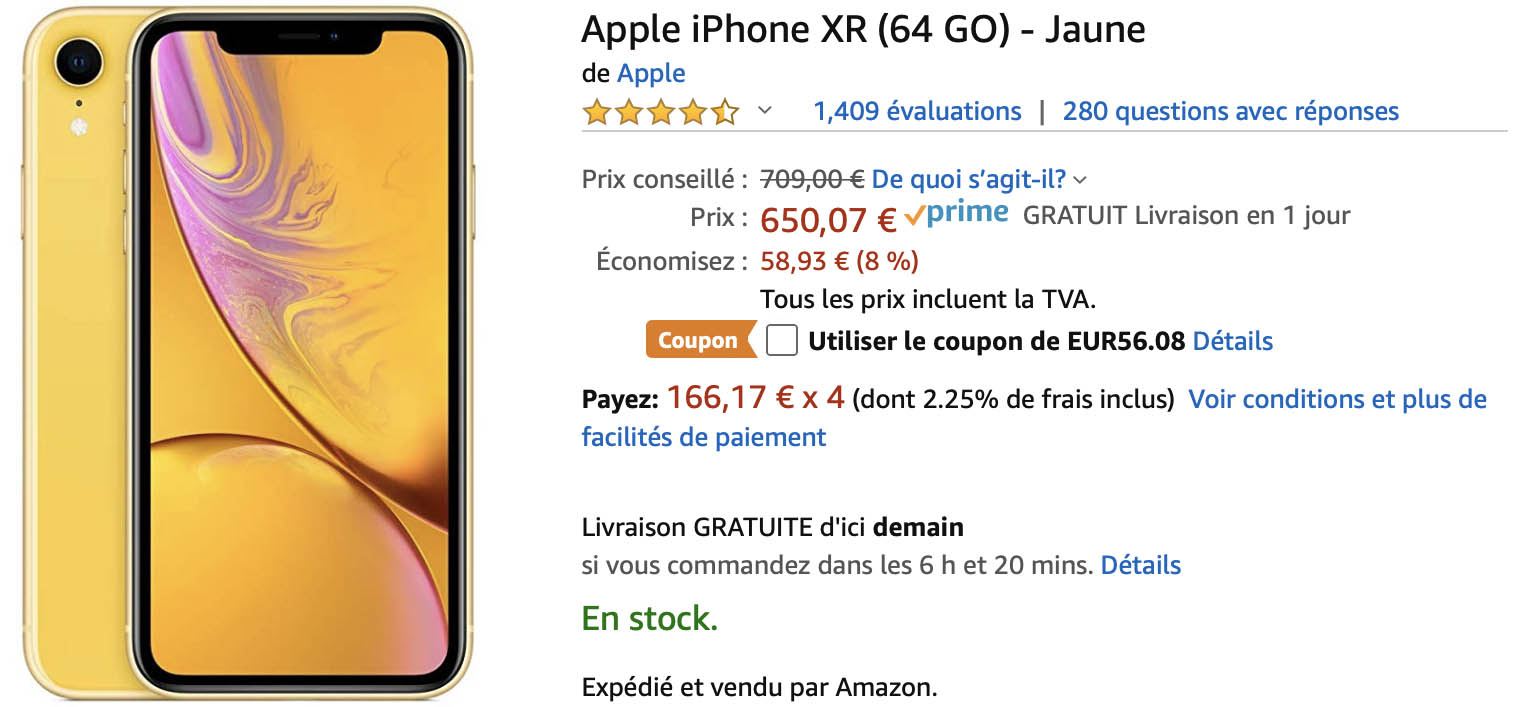 iPhone XR jaune Amazon