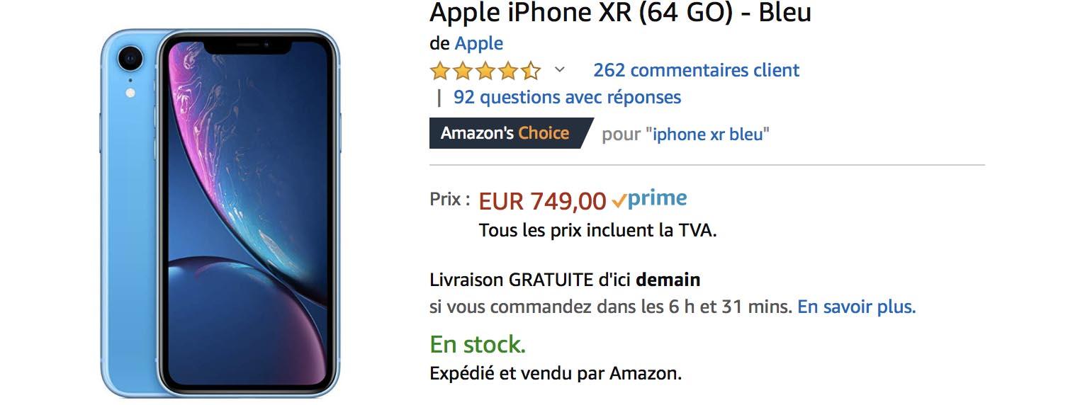 iPhone XR bleu Amazon