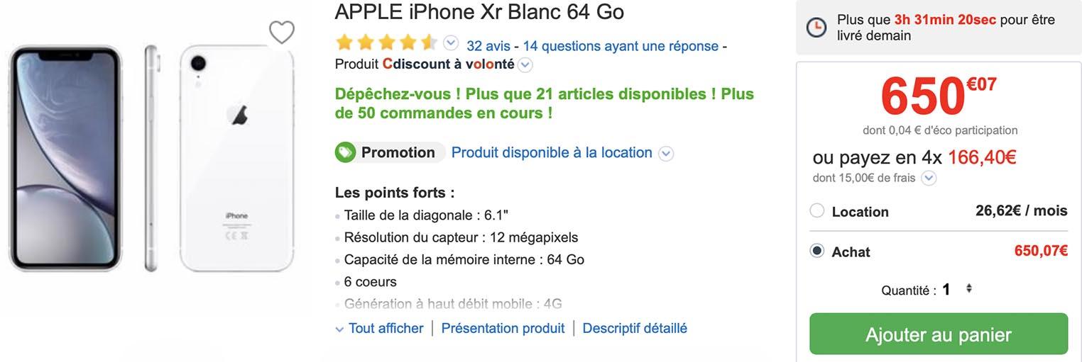 iPhone XR CDiscount