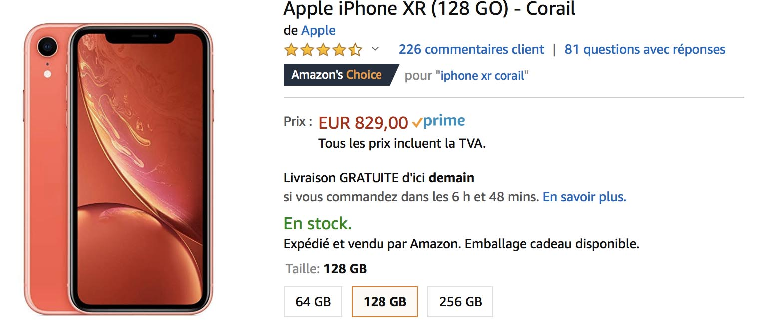 iPhone XR corail Amazon