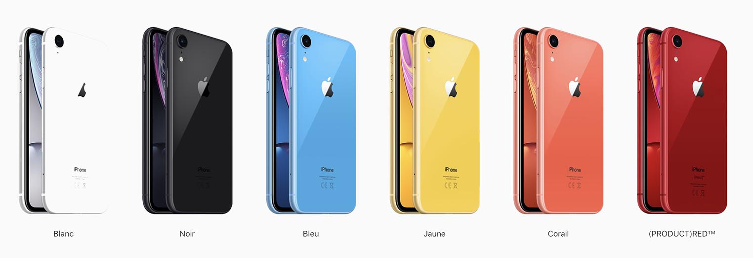 iPhone XR couleurs 2018