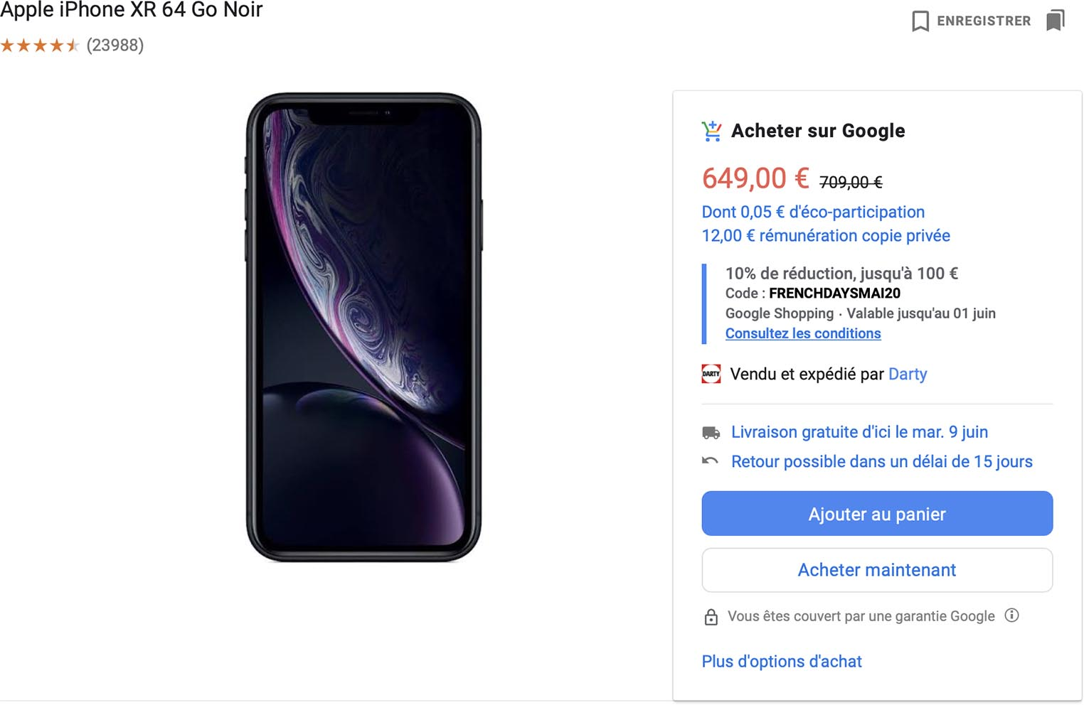 iPhone XR Acheter sur Google