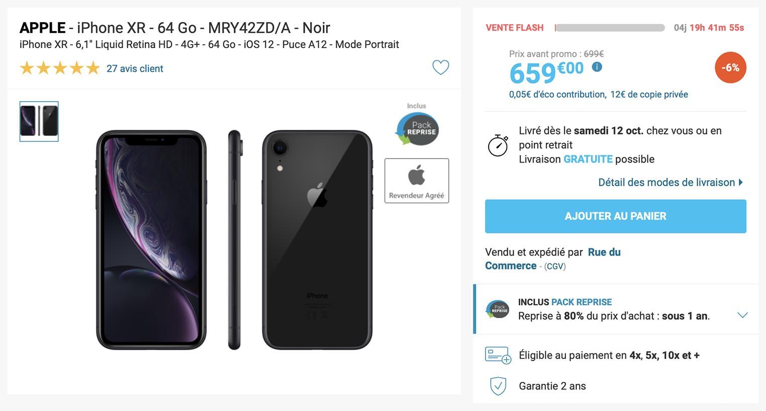 iPhone XR noir Rue du Commerce
