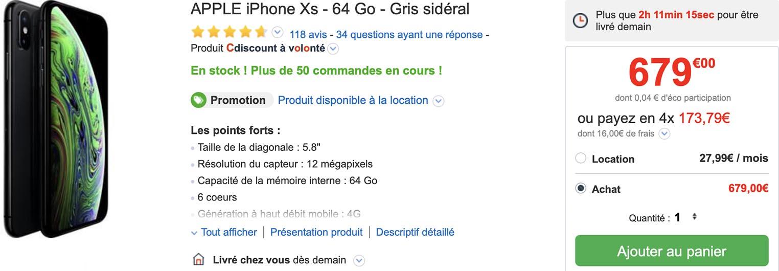 iPhone XS CDiscount