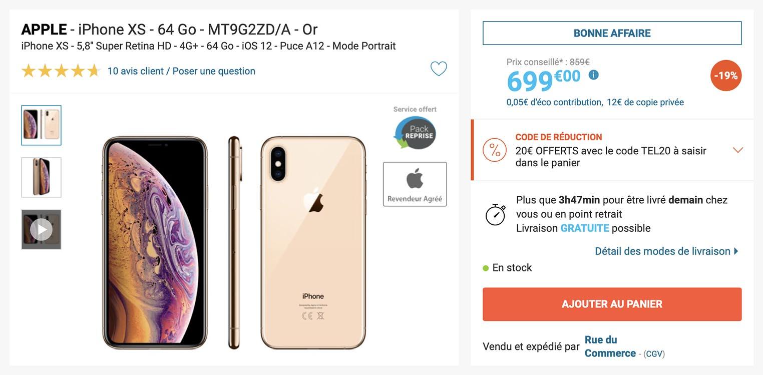 Des iPhoneXS neufs à partir de 679€
