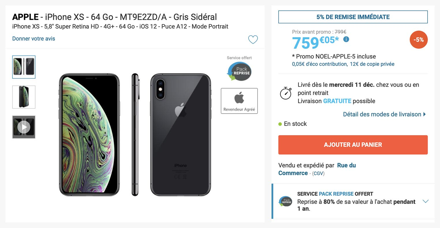 Des iPhoneXS de 64 Go à 759,05€ !