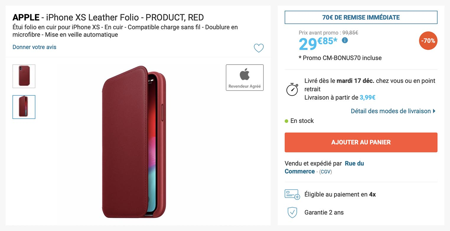 iPhone XS étui folio en cuir RED