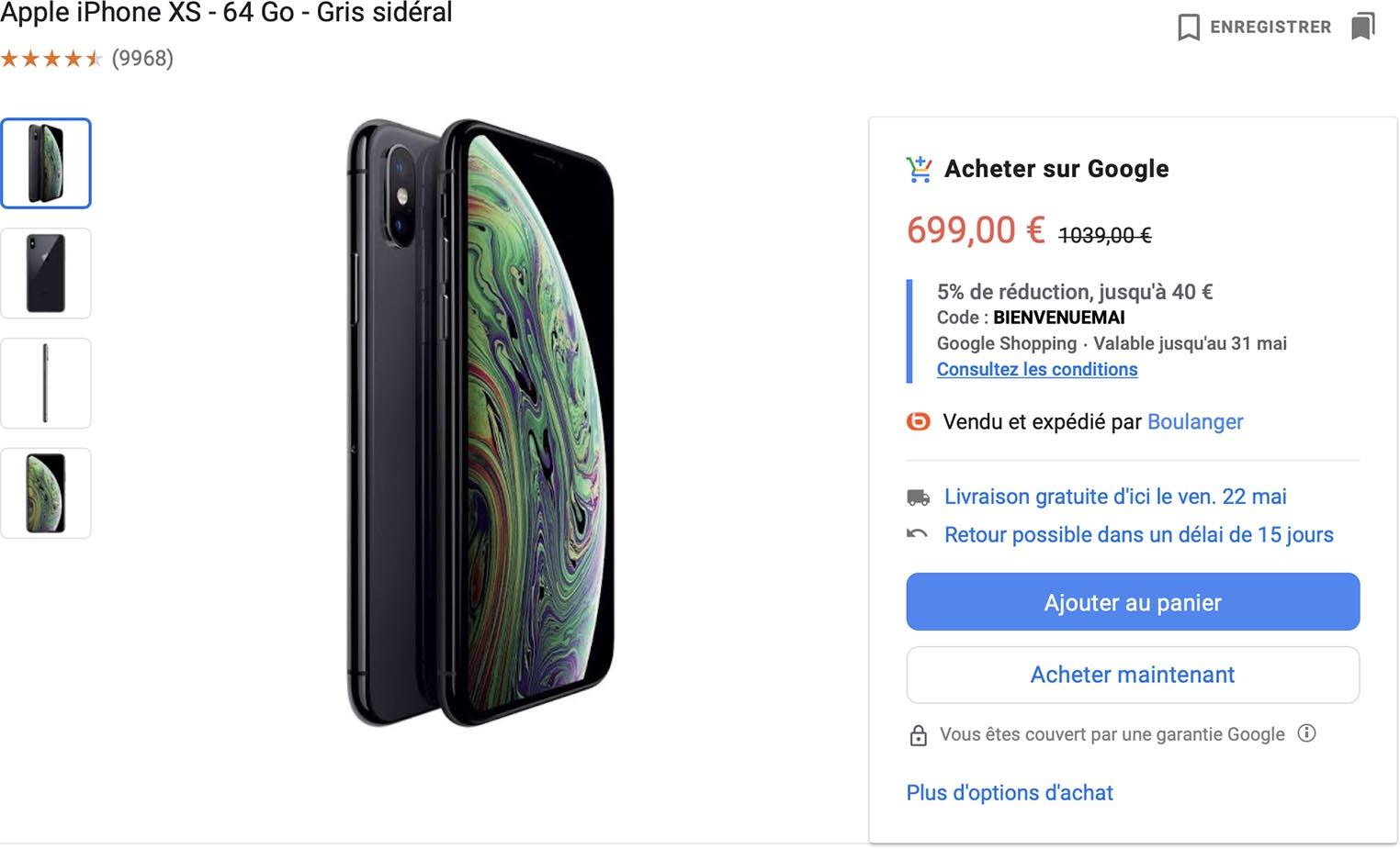 iPhone XS Google
