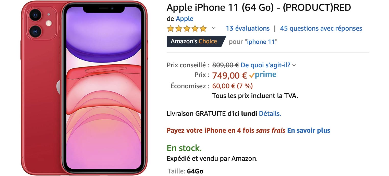 iPhone 11 rouge Amazon