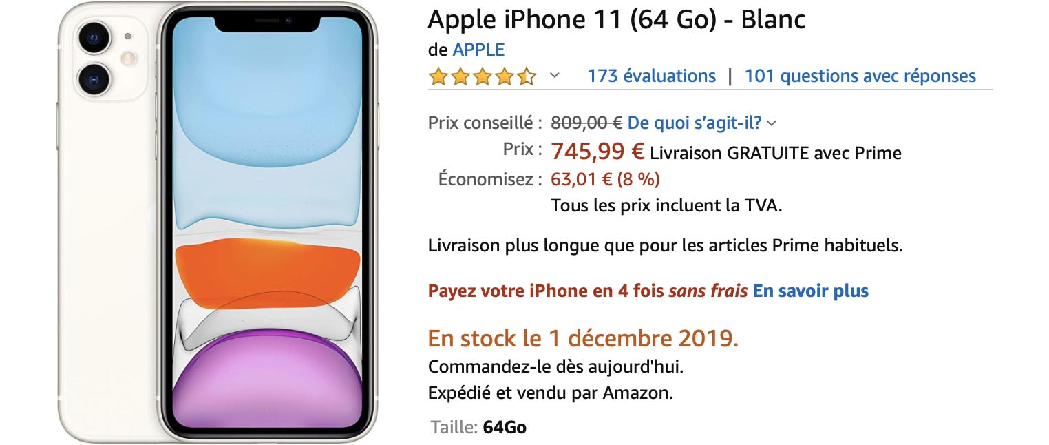 iPhone 11 blanc Amazon