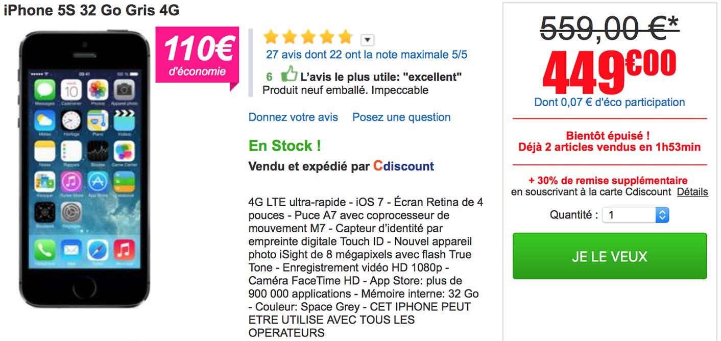Carte Cdiscount Utile.Consomac L Iphone 5s De 32 Go Encore Propose A 449