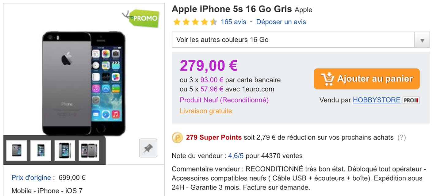 iPhone 5s reconditionné PriceMinister