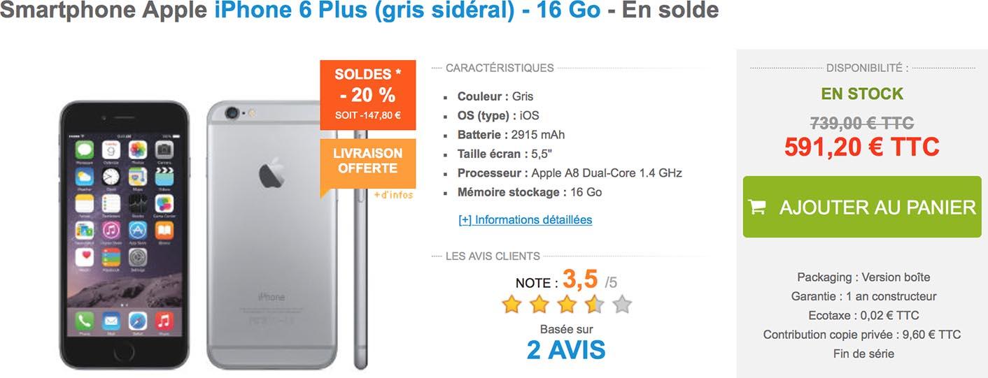 iPhone 6 Plus Materiel.net soldes
