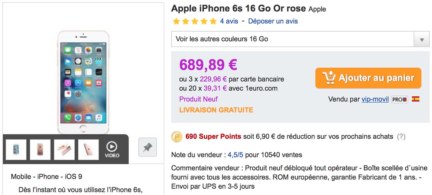 iPhone 6s PriceMinister or