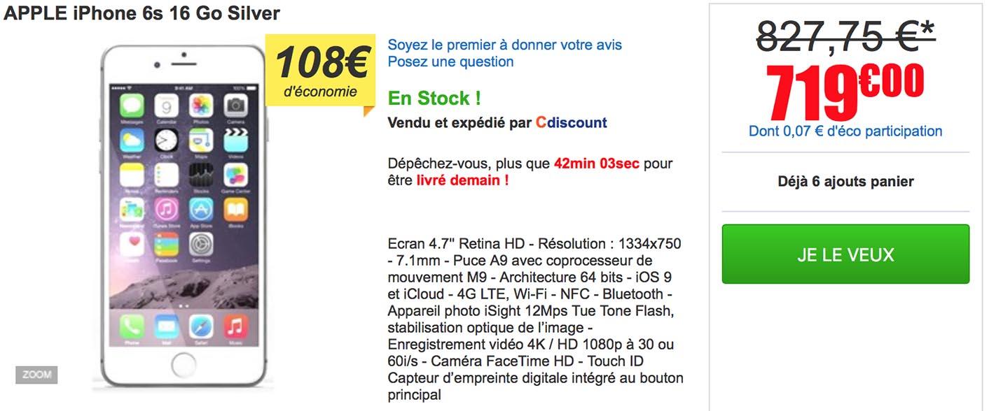 iPhone 6S 16 Go CDiscount