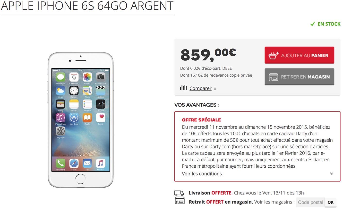 Les téléphones d Apple sont concernés par l offre promotionnelle, et vous  pouvez donc récupérer un bon d achat de 50 € pour tout achat d iPhone 6, 6  Plus, ... 20c37c6e3b12