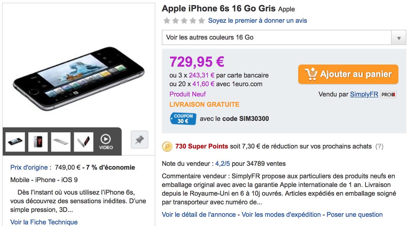 Consomac   Un iPhone 6s gris sidéral à 699 € 2556a61c32a2
