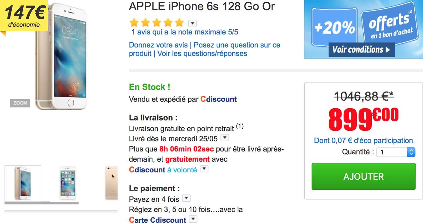 iPhone 6s doré CDiscount