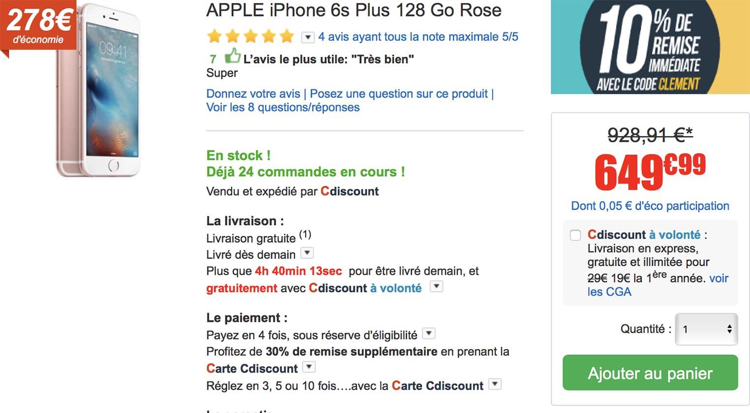 iPhone 6s Plus rose CDiscount
