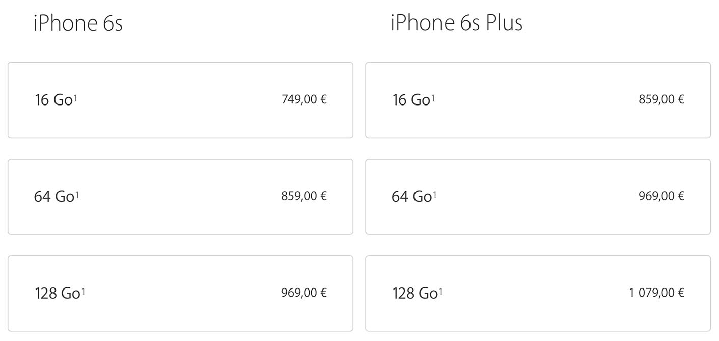 iPhone 6s tarifs