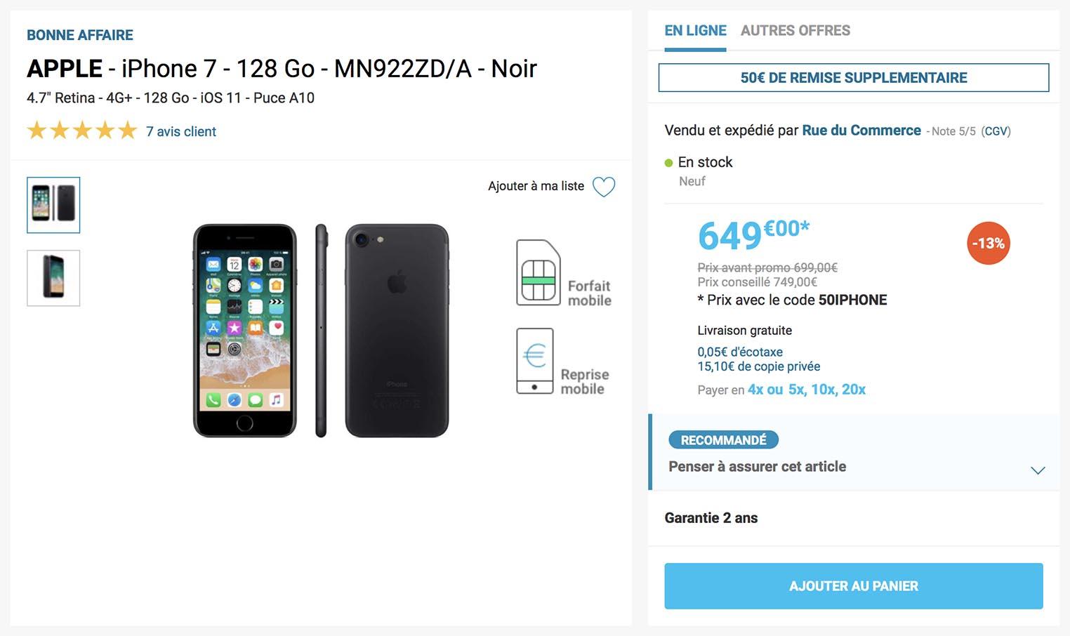 iPhone 7 promo Rue du Commerce