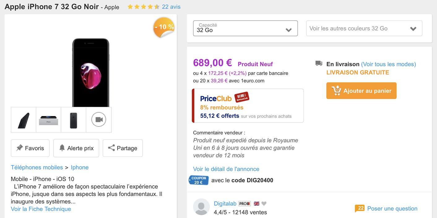 iPhone 7 PriceMinister