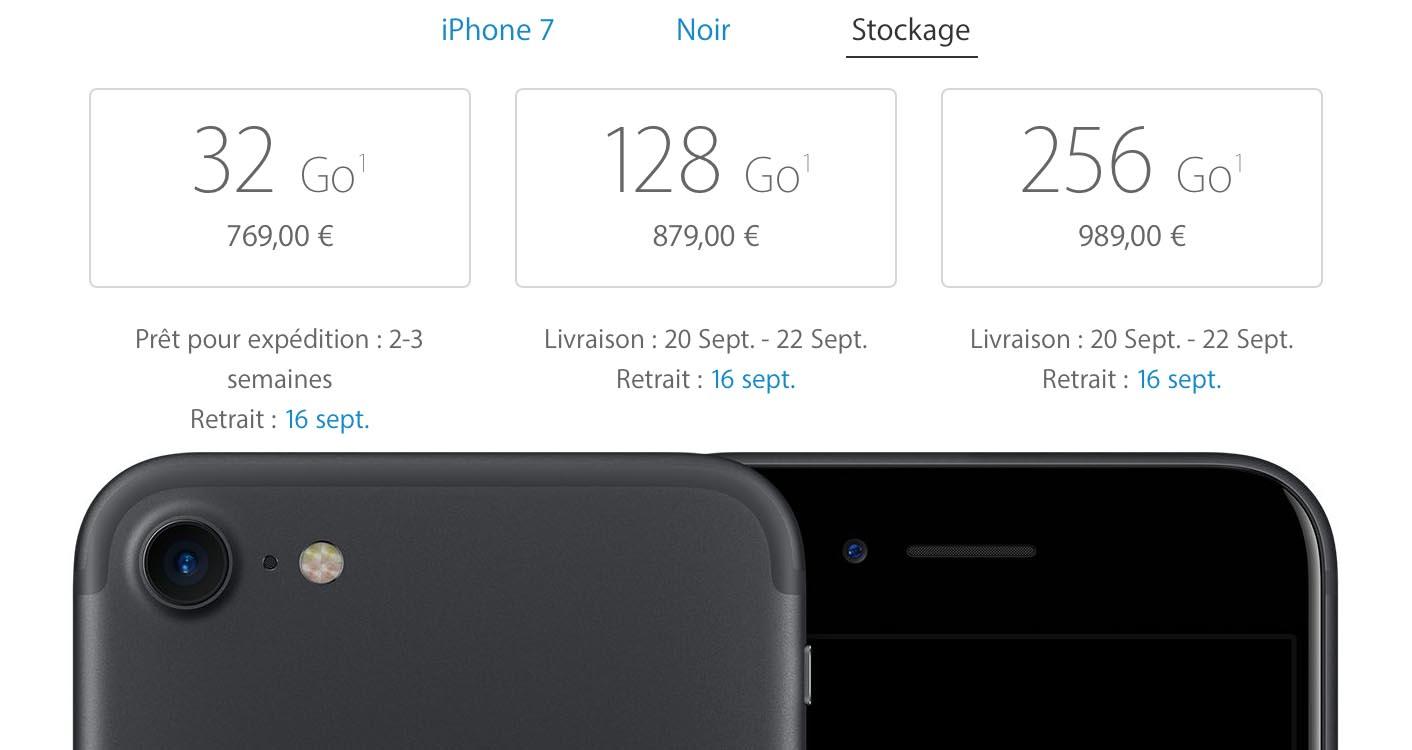 iPhone 7 noir délais