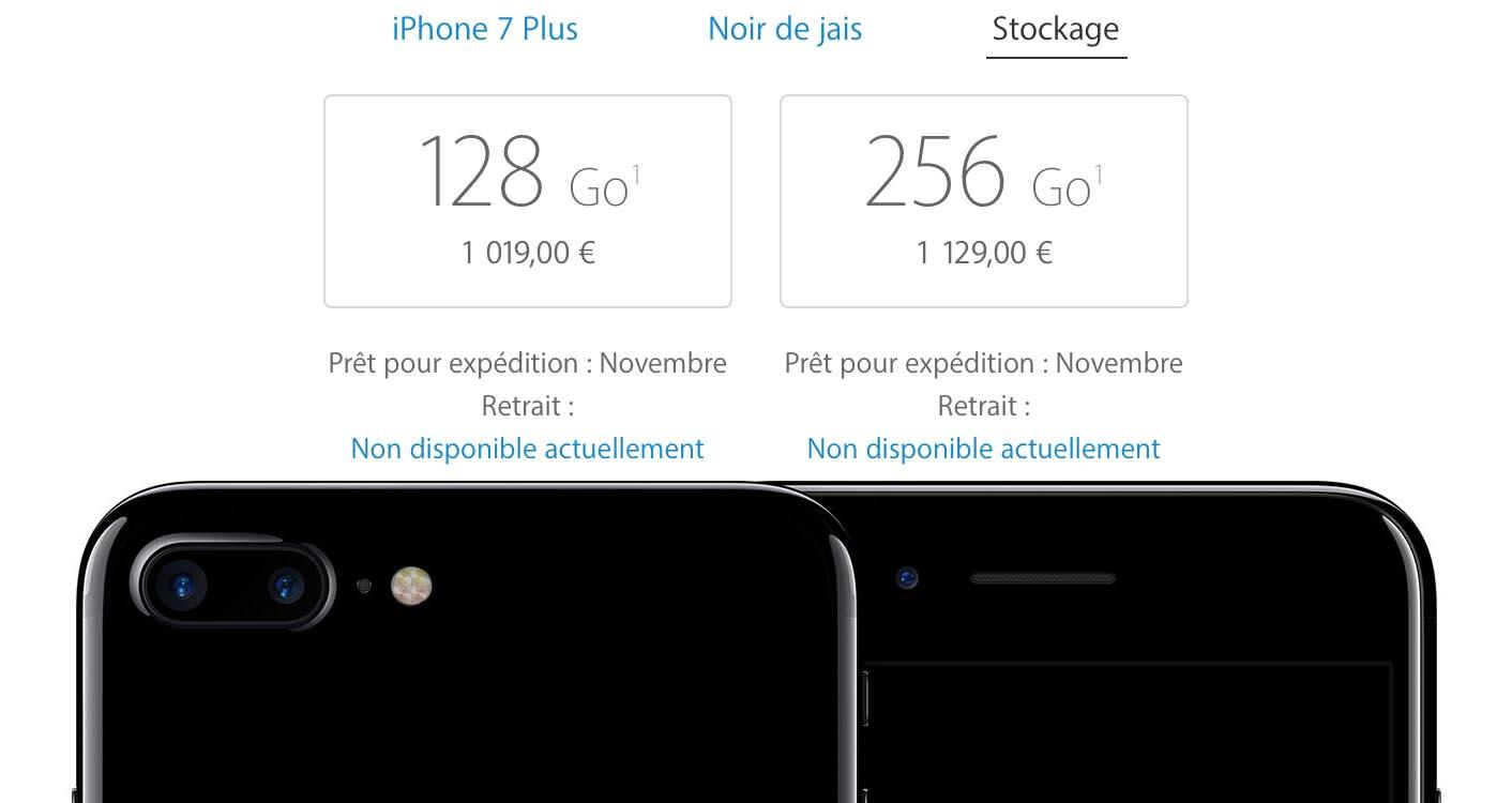 iPhone 7 Plus noir de jais délais
