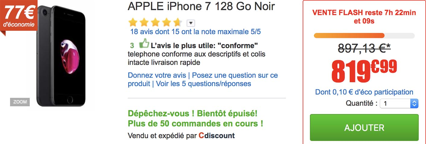 iPhone 7 vente flash